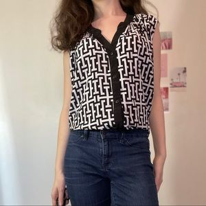 Black and white patterned button-up
